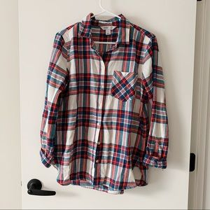 Old Navy White Red Plaid Button Down Flannel